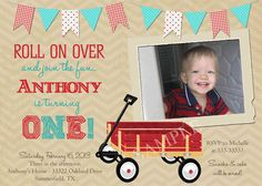 Vintage Look Little Red Wagon 1st Birthday by PartyPopInvites, $17.00