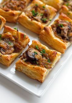 Gruyere Mushroom & Caramelized Onion Bites with sautéed crimini mushrooms, balsamic caramelized onions, and applewood smoked gruyere cheese. made with puff pastry Puff Pastry Appetizers, Mushroom Appetizers, Puff Pastry Recipes, Appetizer Recipes, Cheese Appetizers, Puff Pastries, Easter Recipes, Carmelized Onions And Mushrooms, Gourmet
