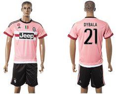 13c19b7e4 ... 2015-2016 Juventus club DYBALA 21 pink white soccer jersey away ...