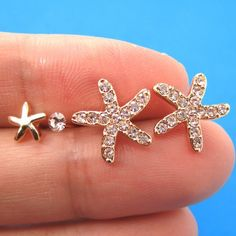 Starfish Star Animal Stud Earring 4 Piece Set with Rhinestones in Gold $8.99