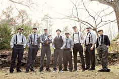Smart casual groomsmen. Tie and hat would be optional. Grey pants. Neutral shirts... I like the idea of plaid shirts too. Maybe just Joe in plaid