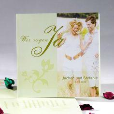 Foto Hellgrün Einladungskarten Quadratisch wedding invitation