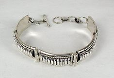 Hand made Native American Indian Jewelry; Navajo Sterling Silver link bracelet