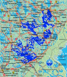 Map of Lake Saimaa and surrounding area with roads and cities. Finland Map, Archipelago, Parks, Birches, Abstract, Seas, Artwork, Cities, Pictures