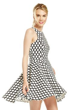 Diamond Grid Fit and Flare Dress