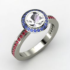 Round Rock Crystal 14K White Gold Ring with Sapphire  Perfect for this NE Patriots fan!