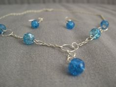 CRYSTAL CLEAR blue necklace and earrings set by Taniussia on Etsy, $18.00