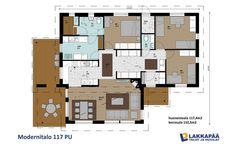 Modernitalo 117 PU - Lakkapää Oy. Kivaa sijoittelua mm keittiö Floor Plans, Flooring, House, Sims, Decoration, Home Decor, Classroom, Decor, Decoration Home