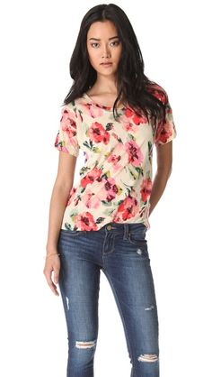 Madewell Floral & Stripe Tee - that's genius, two prints in one t-shirt! the back is striped! so cool!