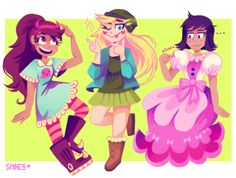 seeing how we now know that janna loves pink, but is never in pink in the show because she does not like giving into gender stereotypes, I thank she would be happy whet this little outfit swap ^^ Starco, Disney Puns, Jackie Lynn Thomas, Evil Art, Star Wars, Star Butterfly, Love Stars, Star Vs The Forces Of Evil, Force Of Evil