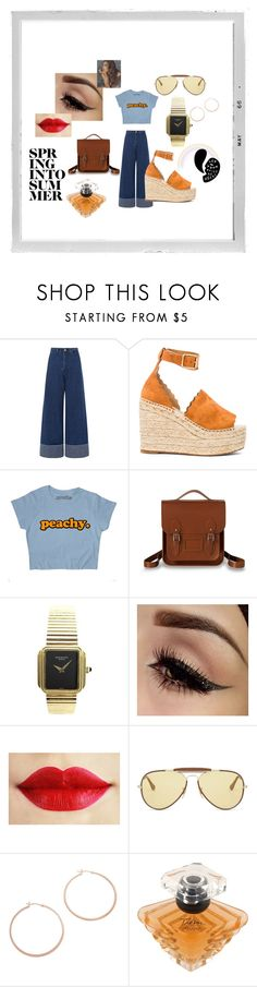 """Estilo Retro Vintage"" by m-arecha on Polyvore featuring moda, Sea, New York, Chloé, The Cambridge Satchel Company, Patek Philippe, Ray-Ban, Jennifer Zeuner, Lancôme, Polaroid y vintage"