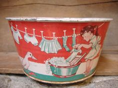 Vintage Tin Toy Laundry Pail by Wolverine. Red, White and Aqua. 1960s Childs Sand Bucket. Charming Graphics.....
