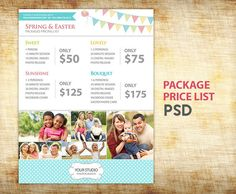 Spring Easter Photography Packages Pricing List  by StudioTwentyNine, $12.00