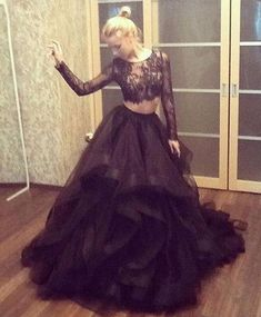 Long Black Lace Party Dress, 2 Pieces Prom Dresses, Tulle Prom Dress,Sexy See Through Long Sleeve Prom Dress, Illusion Sheer Prom Dress, Ruffles Tiered A Line Party Dress