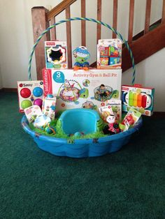 101 easter basket ideas for babies and toddlers that arent candy babys first easter basket i made for my son trace i used wal mart bags negle Images