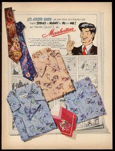 1952 Li'L Abner art by Al Capp Manhattan men's shirt tie vintage fashion ad Rockabilly Outfits, Rockabilly Clothing, Vintage Outfits, Vintage Fashion, 1940s Fashion, Vintage Man, Vintage Style, Mens Shirt And Tie, Li'l Abner