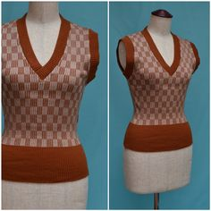 Vintage jumper 1970s geometric design tank by VintageGreenClothing