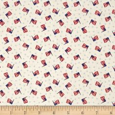 Mary Fons Small Wonders Americana Flag Cream from @fabricdotcom From Sprints Creative Products, Group, LLC, this cotton print fabric is perfect for quilting, apparel and home decor accents. Colors include red, blue and ivory.
