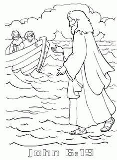 Jesus Walking On Water Coloring Page Coloring Pages Hello Kitty