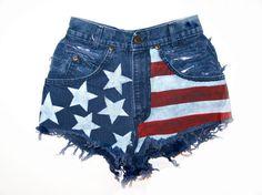 American Flag / Destroyed Blue Denim / High Waist by RomaniRose