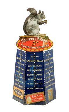 Original Squirrel Brand Salted Peanuts Tin Store Advertising Display
