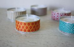 Just Make Stuff Blog...Washi Tape Tealights--EASY and much cuter than the regular metal edges for a party