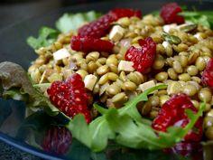 Salade de lentilles aux blondes, #tofu fumé et vinaigrette à l'orange #veggie #vegan