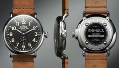 Shinola Runwell Watch – Horween leather strap, Swiss-made parts from Ronda AG, assembled in Detroit. Limited to 1000 pieces. $550