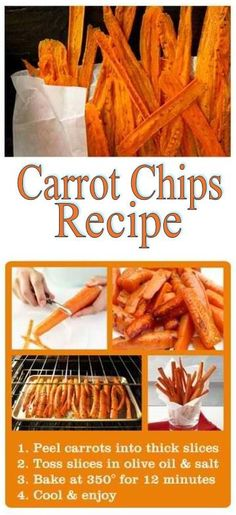 How to Make Carrot Chips is part of Carrot fries It is becoming more and more of a trend to cook and eat organic, healthy snacks Another thing that is very popular is discovering new recipes for ve - Comidas Light, Snacks Für Party, Easy Snacks, Snacks Ideas, Love Food, Snack Recipes, Beef Recipes, Salad Recipes, Smoothie Recipes