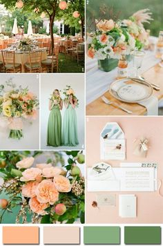 3 Best Wedding Color Combinations for 2013 Peach and green inspiration board. 3 Best Wedding Color Combinations for These are a mixture of fun colors that are sure to make your wedding celebration stand out! Wedding Color Combinations, Wedding Color Schemes, Wedding Colours, Colour Schemes, Colour Palettes, Color Combos, Wedding Themes, Wedding Decorations, Stage Decorations