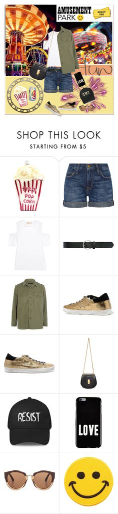 """""""Amusement Park"""" by jacque-reid ❤ liked on Polyvore featuring Marc Jacobs, Current/Elliott, Maggie Marilyn, M&Co, Equipment, Golden Goose, Chloé, Givenchy, Marni and Hollywood Mirror"""