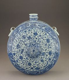 Canteen, early 15th century. Ming dynasty. Porcelain with cobalt pigment under colorless glaze. H: 46.9 W: 41.8 D: 21.3 cm, Smithsonian Institution