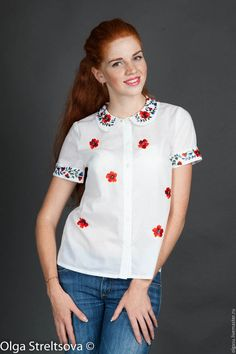 """Блузки ручной работы. Ярмарка Мастеров - ручная работа. Купить Вышитая женская блуза вышиванка """"Аленький цветочек"""" ручная вышивка. Handmade."""