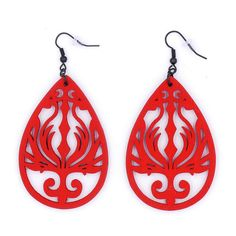 $10.99 Crimson Phoenix Wood Earrings Flame Filigree by MoonRoseDesign