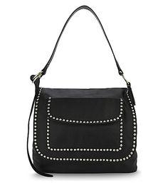 DSQUARED2 Postman Studded Leather Shoulder Bag. #dsquared2 #bags #shoulder bags #leather #denim #