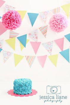 Rosettes & Pearls Smash Cake www.sweetlolacakepops.com