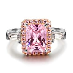 Radiant Cut Pink Sapphire 925 Sterling Silver Engagement Ring #Joancee #Jewelry