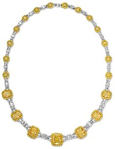 Cellini Jewelers Fancy Yellow and White Diamond Necklace