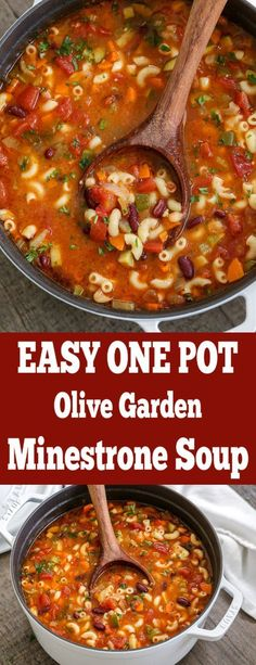 Minestrone soup is so hearty it can stand on its own as the main dish! I fell in love with minestrone at the Olive Garden, so this is a pretty darn close Easy Soup Recipes, Vegetarian Recipes, Dinner Recipes, Cooking Recipes, Healthy Recipes, Restaurant Recipes, Healthy Nutrition, Chicken Recipes, Olive Garden Minestrone Soup