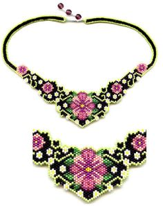 Victorian Flowers Beaded Necklace Designed by Charles Hughes and made by me. Seed Bead Jewelry, Bead Earrings, Beaded Jewelry, Handmade Jewelry, Beaded Necklace, Beaded Bracelets, Green Necklace, Seed Beads, Necklaces
