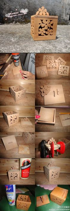 cute cut-out wooden box...only takes wood, tools and talent!