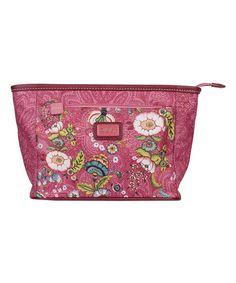 Pink French Flowers Medium Cosmetic Bag & Pocket Mirror #zulily #zulilyfinds