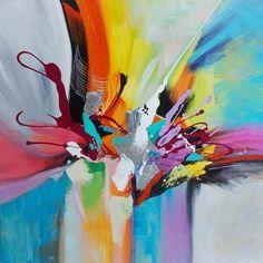 Tableau peinture sur toile Borealis contemporain 80X80 cm