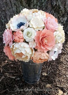 Paper Bouquet - Paper Flower Bouquet - Wedding Bouquet - Country White and Peach - Sahbby Chic  - Custom Made - Any Color on Etsy, $125.00