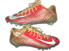 the best attitude aaef5 5b837 Michael Wilhoite San Francisco 49ers Game Worn   Signed Red   Gold Nike  Cleats (Awesome