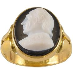Preowned A Victorian Sardonyx Gold Cameo Depicting John Locke (237920 ALL) ❤ liked on Polyvore featuring jewelry, rings, multiple, signet rings, long rings, 18k ring, yellow gold rings, 18k gold ring and 18 karat gold ring