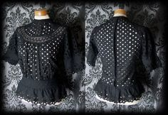 Goth Black Detailed GOVERNESS High Neck Buttoned Blouse 8 10 Victorian Vintage - £29.00