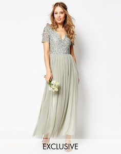 Maya+V+Neck+Maxi+Tulle+Dress+with+Tonal+Delicate+Sequins