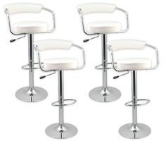 Designer Bar Stool Kitchen Chair Gas Lift - White - Value Set of 4 - Crazy Sales 4 for $154