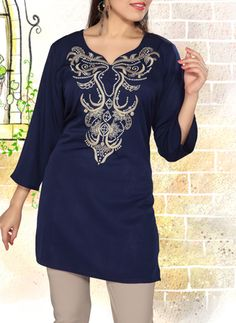 Women's Navy Blue Tunic Kurti up to off sale on Indian tunics popularly called kurtis that have made a designer statement worldwide. Fashion Tips For Women, Womens Fashion, Indian Tops, Cotton Tunic Tops, Indian Tunic, Stitching Dresses, Tunic Designs, Silk Sleepwear, Navy Women